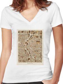 Denver Colorado Street Map Women's Fitted V-Neck T-Shirt