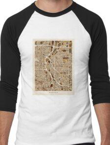 Denver Colorado Street Map Men's Baseball ¾ T-Shirt