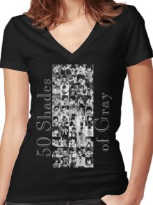 50 Shades of Gray Fullbuster - grey txt Women's Fitted V-Neck T-Shirt