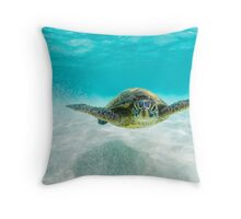 Turtle swimming over white sand Throw Pillow