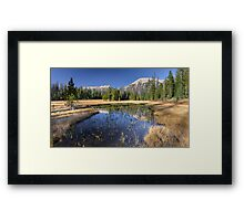 Pond with Mountain reflection Framed Print