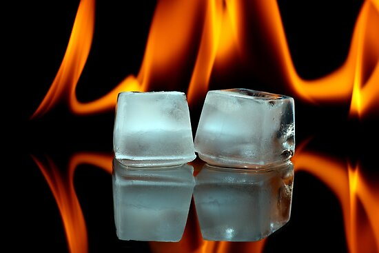 Ice cubes on fire by Pics4merch