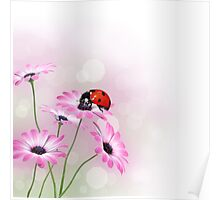 Flowers with ladybird Poster