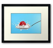 Raspberry splashing into milk Framed Print