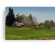 Spring in old farmstead (Yellow house) Canvas Print
