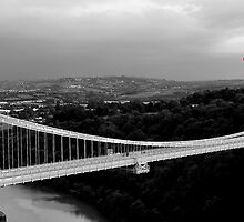 Red Balloon Over Clifton Suspension Bridge by MWhitham