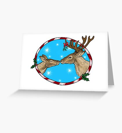 Reindeer Kisses Festive Design Greeting Card