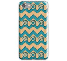 Chevrons and Sprockets - Blue-Green and gold Repeating Pattern iPhone Case/Skin
