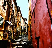 Narrow steps up, Provence village. by Andrew Briffett