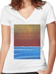 Equatorial original painting Women's Fitted V-Neck T-Shirt