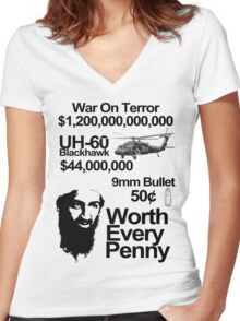 killing osama, worth every penny Women's Fitted V-Neck T-Shirt