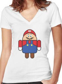 Super Droid Bros. Mario Women's Fitted V-Neck T-Shirt