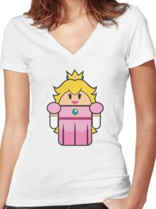 Super Droid Bros. Princess Peach Women's Fitted V-Neck T-Shirt