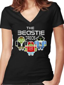 THE BEASTIE DROIDS Women's Fitted V-Neck T-Shirt