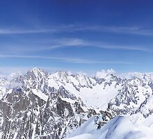 Panorama towards the Aiguille Verte, Chamonix. by Andrew Briffett