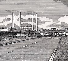 201 - BLYTH POWER STATION - DAVE EDWARDS - INK - 1995 by BLYTHART