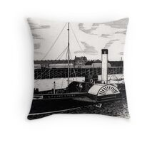 184 - TUGBOAT 'LIVINGSTONE' c. 1910 - DAVE EDWARDS - INK - 1991 Throw Pillow