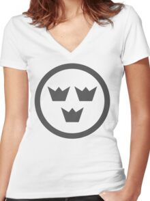 Swedish Air Force Insignia (Low Vis) Women's Fitted V-Neck T-Shirt