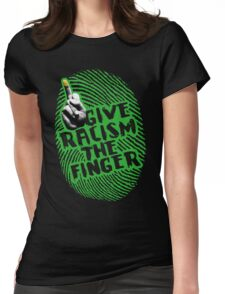 Give Racism The Finger - Black Womens Fitted T-Shirt