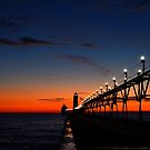 Sunset at the Grand Haven Pier 2 by Debbie  Maglothin
