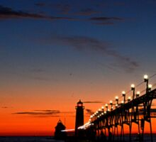 Sunset at the Grand Haven Pier 2 Sticker