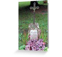 Grave with purple wildflowers Greeting Card