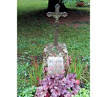 Grave with purple wildflowers Photographic Print