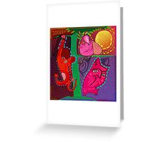 doodle animals hanging out Greeting Card