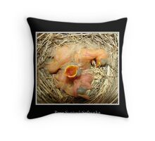 Feed me! (Baby Robins) Throw Pillow
