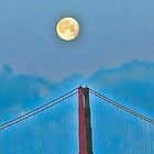 Moon over golden gate by vincefoto