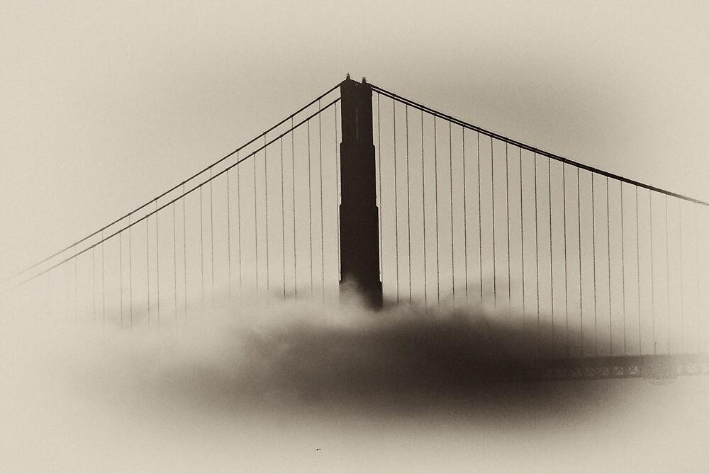 Golden Gate Bridge in Fog by vincefoto