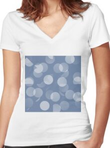 Blue and White Dots Women's Fitted V-Neck T-Shirt