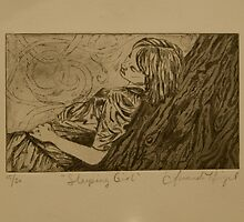 Sleeping Girl- Intaglio Print by Amanda Heigel