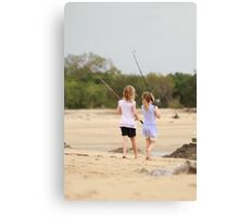 sisters fishing Canvas Print