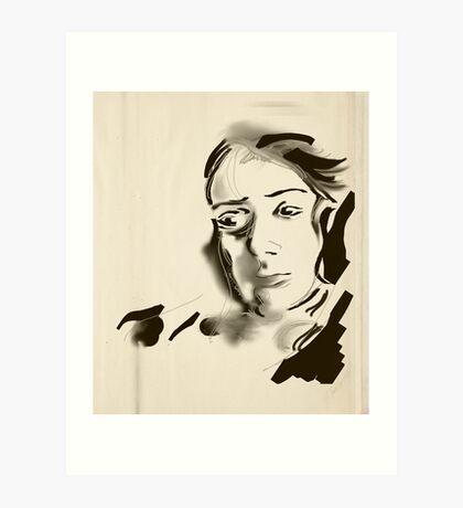 Digital Artistic Ink Woman Black & White Art Print