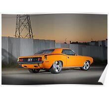 Orange 1970 Plymouth Barracuda Poster
