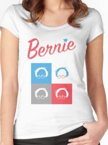 Retro Bernie Hair Shirt - Pop Art Pattern Women's Fitted Scoop T-Shirt