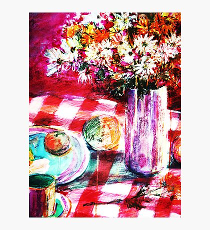 red checked tablecloth and vase of flowers Photographic Print