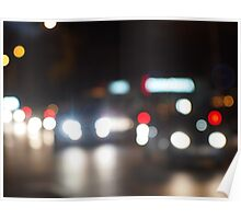 Abstract night scene in the city on the road Poster