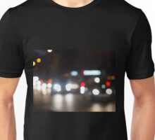 Abstract night scene in the city on the road Unisex T-Shirt