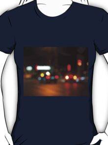 Defocused red and yellow lights on the night the traffic T-Shirt