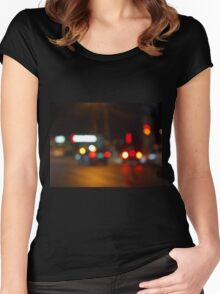 Defocused red and yellow lights on the night the traffic Women's Fitted Scoop T-Shirt