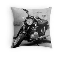 Old Triumph Bonneville Motorbike Throw Pillow