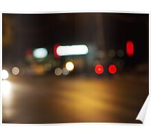 Abstract defocused red and yellow lights Poster