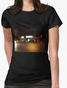 Abstract defocused red and yellow lights Womens Fitted T-Shirt