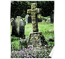 Bluebells in a graveyard, Dartmoor, UK (Altered by design) Poster