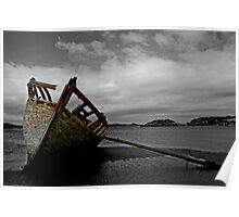 Stranded boat, Dungloe, Donegal Poster