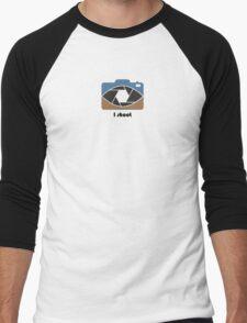 I shoot - blue/brown Men's Baseball ¾ T-Shirt