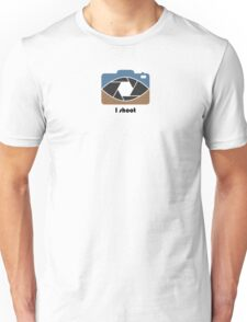 I shoot - blue/brown Unisex T-Shirt