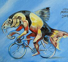 Clown Loach on a Bicycle by Ellen Marcus